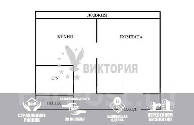 1-комнатная, улица Вострецова 7. Столетие, агентство, 36 кв.м. План квартиры