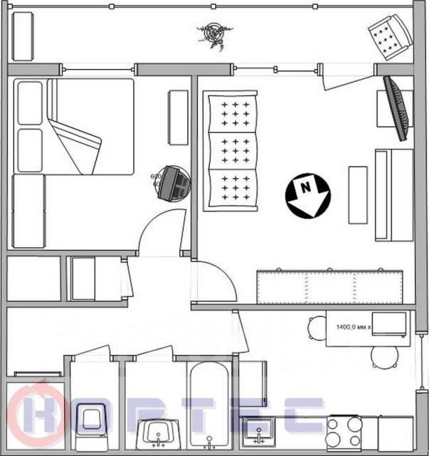 2-комнатная, улица Семеновская 25. Центр, проверенное агентство, 46 кв.м. План квартиры
