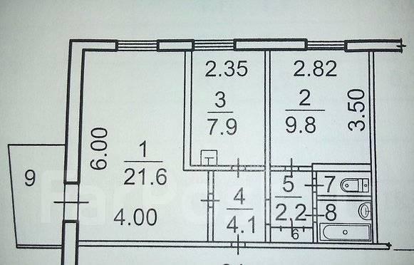 2-комнатная, улица Шошина 21. БАМ, агентство, 50 кв.м. План квартиры