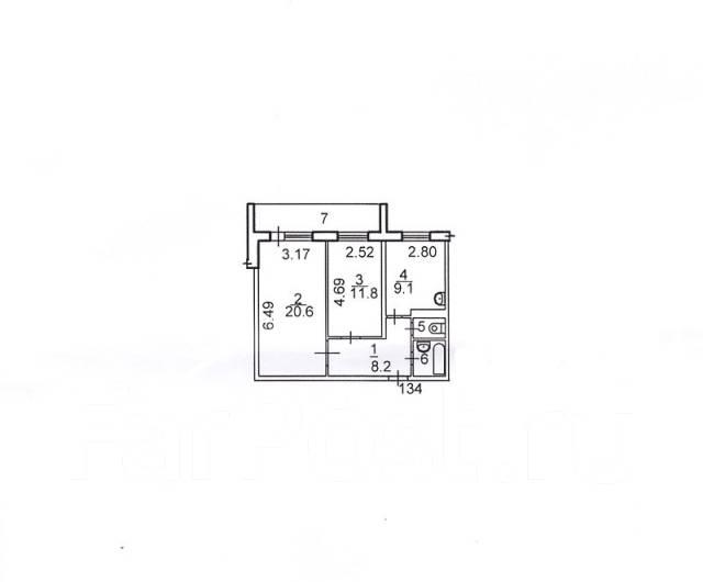 2-комнатная, улица Анны Щетининой 35. Снеговая падь, агентство, 54 кв.м. План квартиры