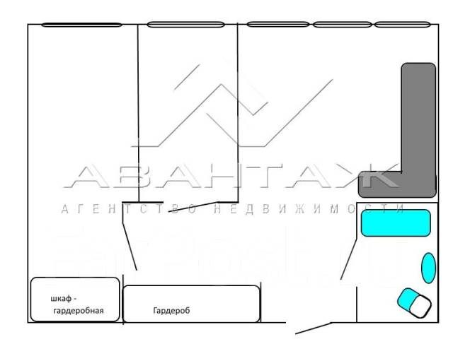 3-комнатная, улица Полетаева 6б. Седанка, агентство, 72 кв.м. План квартиры