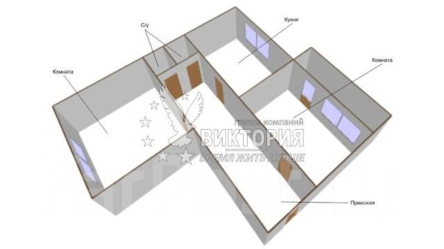 2-комнатная, улица Анны Щетининой 28. Снеговая падь, проверенное агентство, 54 кв.м. План квартиры