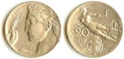 Италия 20 чентизимо 1922 год (иностранные монеты)