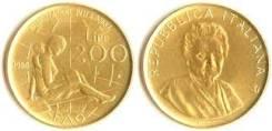 Италия 200 лир 1980 год (иностранные монеты)