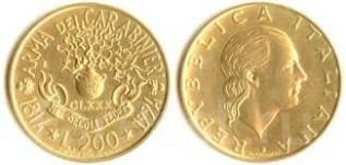 Италия 200 лир 1994 год