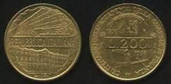 Италия 200 лир 1996 год (иностранные монеты)