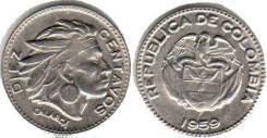 Колумбия 10 сентаво 1959 год (иностранные монеты)