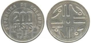 Колумбия 200 песо 1995 год (иностранные монеты)