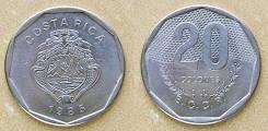 Коста-Рика 20 колонов 1983 год (иностранные монеты)
