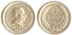 Уругвай 2 сентесимо 1953 год (иностранные монеты)