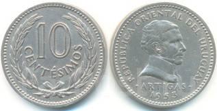 Уругвай 10 сентесимо 1960 год (иностранные монеты)