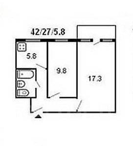 2-комнатная, улица Интернациональная 71. Чуркин, частное лицо, 43 кв.м. План квартиры