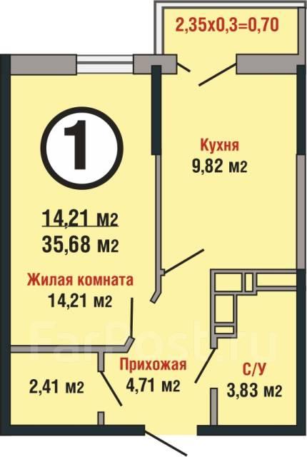 1-комнатная, улица Душистая 79лит1. Прикубанский, частное лицо, 35 кв.м.