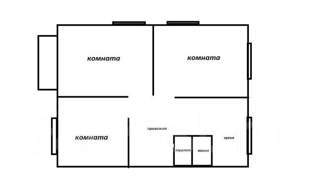 3-комнатная, улица Космонавтов 21. Тихая, проверенное агентство, 61 кв.м. План квартиры
