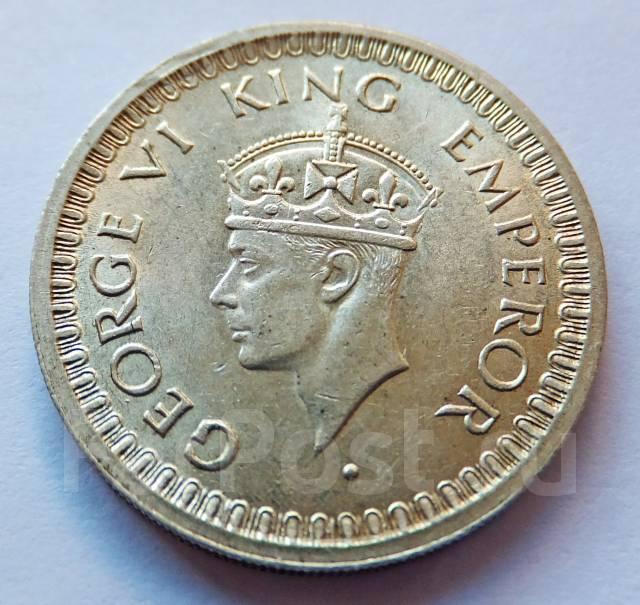 Индия 1/2 рупии 1945 George VI (Бомбей) Серебро