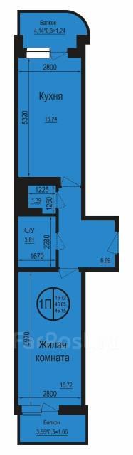 1-комнатная, улица Душистая 54А. Молодёжный, агентство, 47 кв.м.