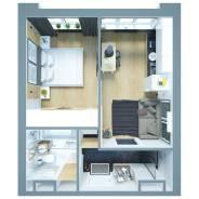1-комнатная, улица Фастовская 29. Чуркин, частное лицо, 32 кв.м. Дизайн-проект