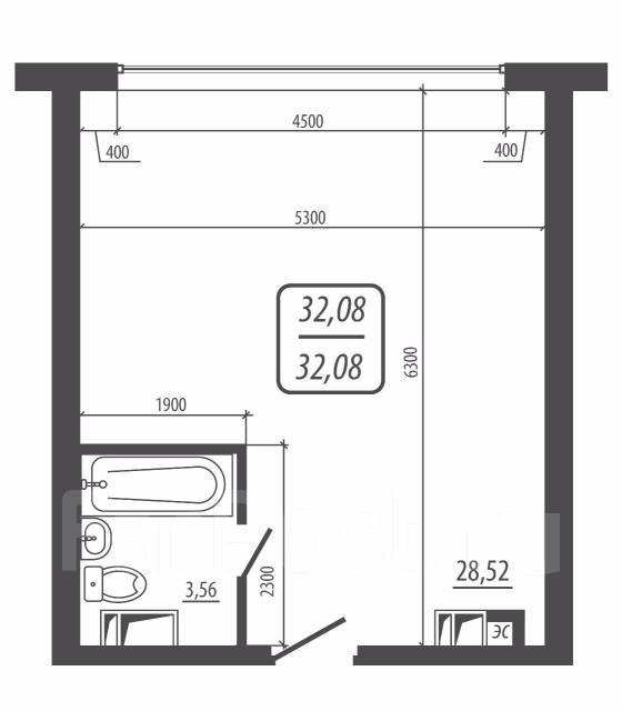1-комнатная, улица Фастовская 29. Чуркин, частное лицо, 32 кв.м. План квартиры