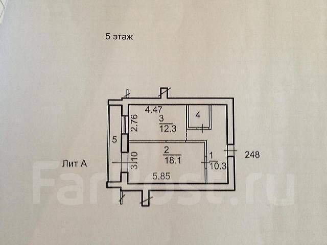 1-комнатная, улица Давыдова 35. Вторая речка, частное лицо, 50 кв.м. План квартиры