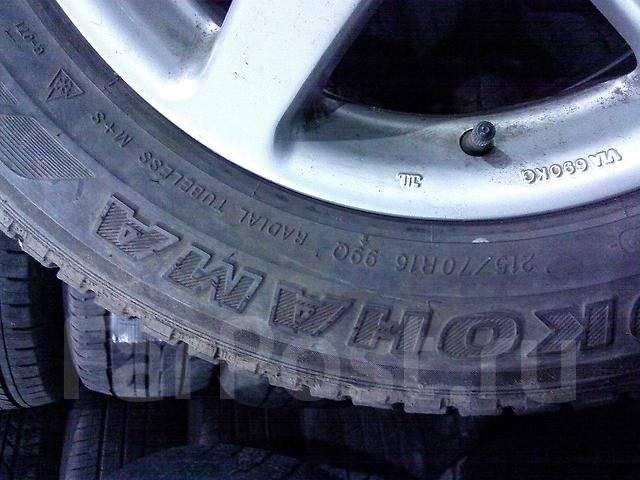 Пара колес 215/70R16 на литых дисках. 7.0x16 5x100.00, 5x114.30 ET48 ЦО 65,0мм.
