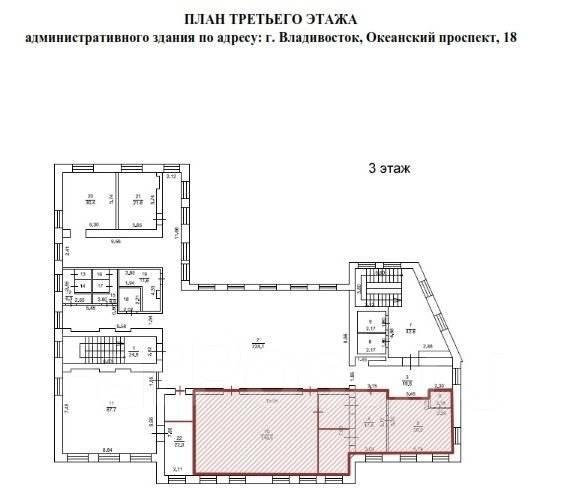 Офисное помещение в центре - 163 кв. метра. 163 кв.м., проспект Океанский 18, р-н Центр. План помещения