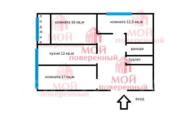 3-комнатная, улица Тунгусская 50. Третья рабочая, агентство, 69 кв.м. План квартиры