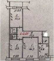 3-комнатная, улица Нейбута 24. 64, 71 микрорайоны, проверенное агентство, 67 кв.м. План квартиры