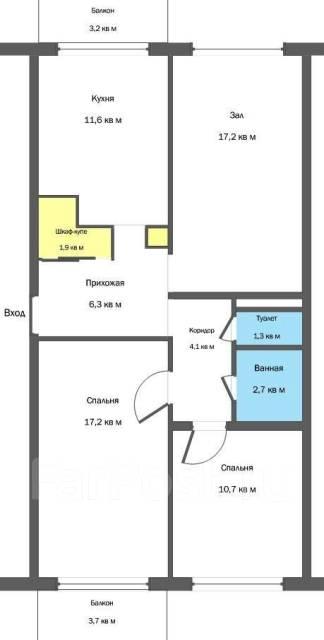 3-комнатная, улица Севастопольская 12/2. Пианино, частное лицо, 73 кв.м. План квартиры