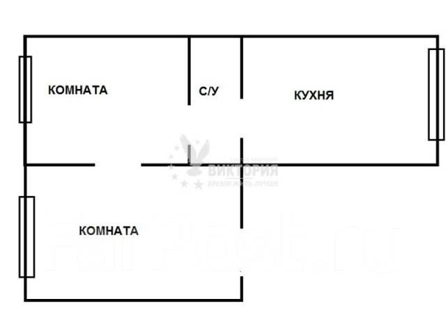 2-комнатная, проспект Красного Знамени 45. Некрасовская, агентство, 45 кв.м. План квартиры