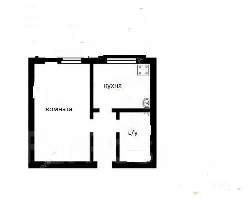 1-комнатная, улица Интернациональная 71. Чуркин, проверенное агентство, 33 кв.м. План квартиры