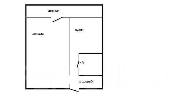1-комнатная, улица Ульяновская 12/2. БАМ, агентство, 36 кв.м. План квартиры