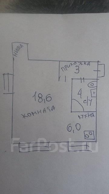 1-комнатная, улица Сахалинская 1а. Тихая, агентство, 31 кв.м. План квартиры
