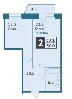 2-комнатная, улица Шевчука 28. Индустриальный, агентство, 56 кв.м.