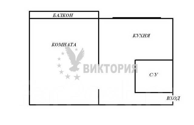 1-комнатная, улица Башидзе 16. Первая речка, агентство, 32 кв.м. План квартиры