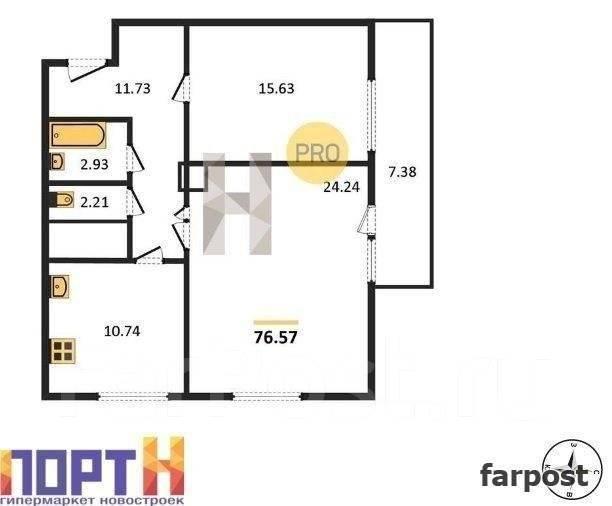 2-комнатная, проспект Красного Знамени 114б. Третья рабочая, проверенное агентство, 76 кв.м. План квартиры