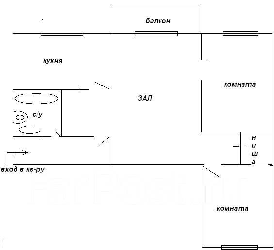 3-комнатная, улица Сипягина 28. Эгершельд, агентство, 56 кв.м. План квартиры