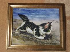 """Картина вышитая бисером """"Котёнок"""" отличный подарок"""
