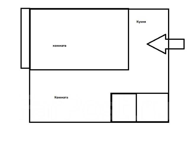 2-комнатная, улица Луговая 62. Баляева, агентство, 41 кв.м. План квартиры