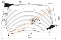 Стекло заднее (крышка багажника) с обогревом NISSAN MICRA/MARCH 02-10 3/5D XYG K12RWHX