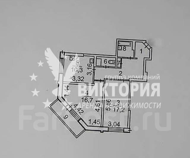 2-комнатная, улица Адмирала Горшкова 22. Снеговая падь, агентство, 64 кв.м. План квартиры