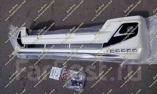 Губа передняя Modellista с диодами Prado150 (Прадо) с 2013г. - Белая. Toyota Land Cruiser Prado