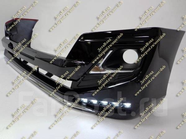 Губа передняя Modellista с диодами на Prado 150(Прадо) с 2013г- Черная. Toyota Land Cruiser Prado