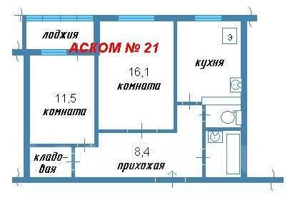 2-комнатная, улица Харьковская 3. Чуркин, агентство, 51 кв.м. План квартиры