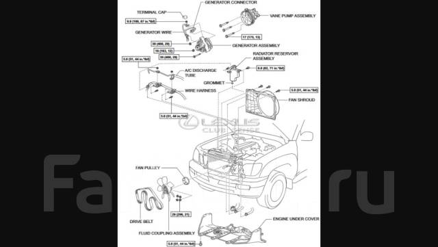 Генератор. Lexus LX470, UZJ100 Lexus GX470, UZJ120 Двигатель 2UZFE
