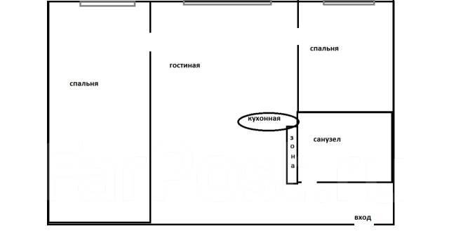 2-комнатная, улица Надибаидзе 22. Чуркин, агентство, 42 кв.м. План квартиры