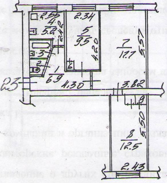 3-комнатная, проспект 100-летия Владивостока 100. Вторая речка, частное лицо, 60 кв.м. План квартиры
