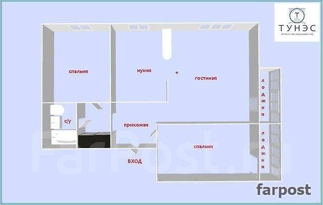 3-комнатная, улица Пацаева 5а. Тихая, проверенное агентство, 62 кв.м. План квартиры