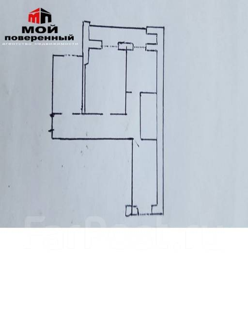 3-комнатная, улица Бестужева 15а. Эгершельд, агентство, 63 кв.м. План квартиры