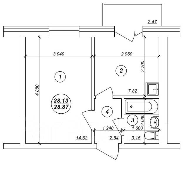 1-комнатная, улица Александровская. Краснофлотский, агентство, 26 кв.м.