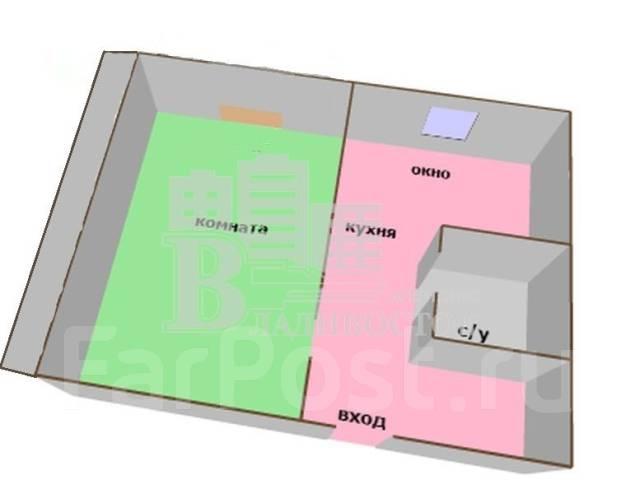 1-комнатная, улица Невельского 27. 64, 71 микрорайоны, агентство, 34 кв.м. План квартиры